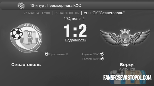 «СКЧФ Севастополь» 1-2 «Беркут» (Армянск)